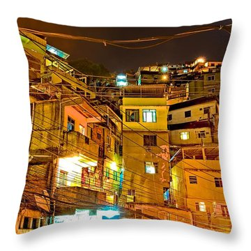 Throw Pillow featuring the photograph Favela Night by Kim Wilson