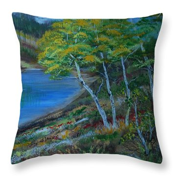 Throw Pillow featuring the painting Favorite Fishin' Hole by Leslie Allen