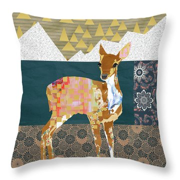Fawn Collage Throw Pillow by Claudia Schoen