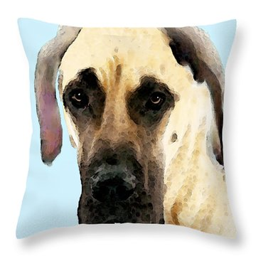 Fawn Great Dane Dog Art Painting Throw Pillow by Sharon Cummings