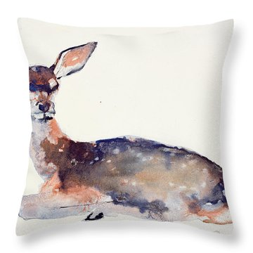 Fawn Throw Pillow by Mark Adlington