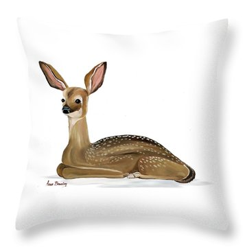 Throw Pillow featuring the painting Fawn With No Background by Anne Beverley-Stamps