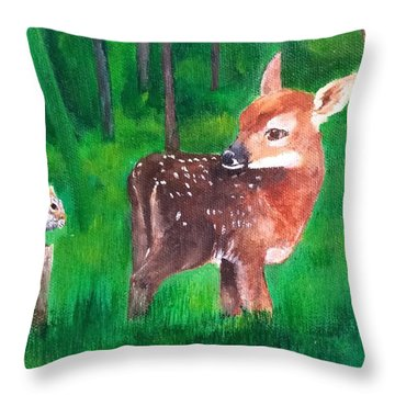 Fawn With Squirrel Throw Pillow by Ellen Canfield