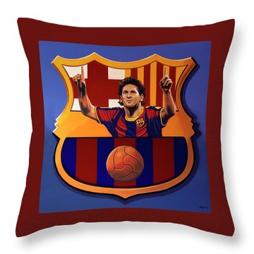 Fc Barcelona Painting Throw Pillow
