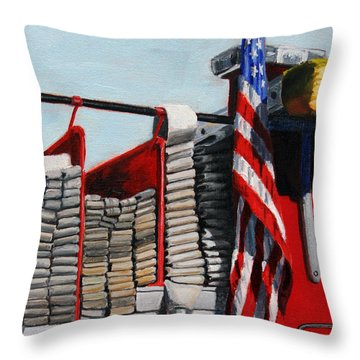 Fdny Engine 59 American Flag Throw Pillow by Paul Walsh