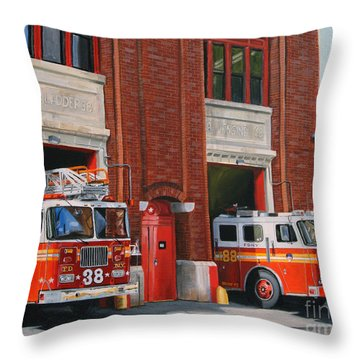 Fdny Engine 88 And Ladder 38 Throw Pillow