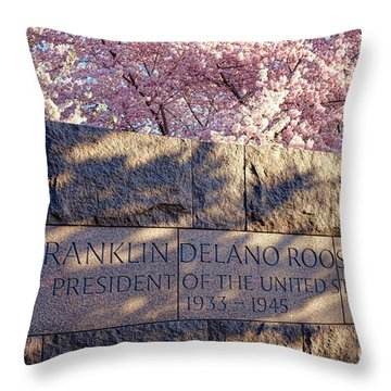 Fdr Memorial Marker In Washington D.c. Throw Pillow