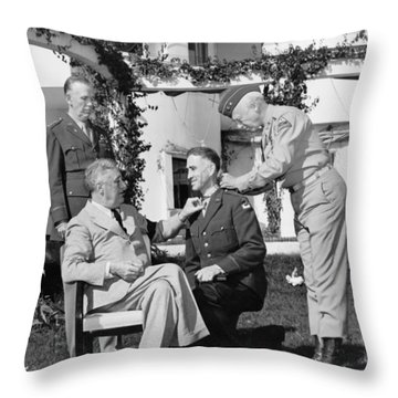 Throw Pillow featuring the photograph Fdr Presenting Medal Of Honor To William Wilbur by War Is Hell Store