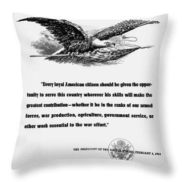 Fdr War Quote Throw Pillow