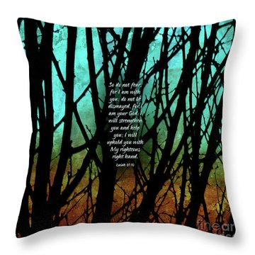 Throw Pillow featuring the mixed media Fear Not by Shevon Johnson