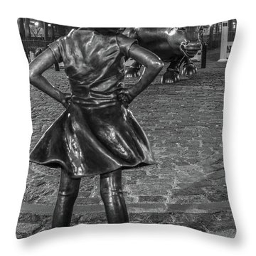Fearless Girl And Charging Bull Nyc Throw Pillow