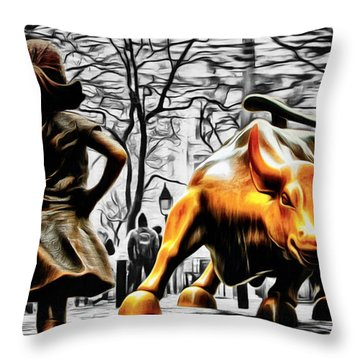 Fearless Girl And Wall Street Bull Statues 15 Throw Pillow