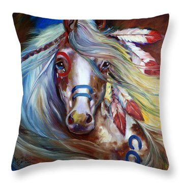 Fearless Indian War Horse Throw Pillow