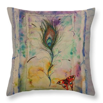 Feather And Butterfly Throw Pillow