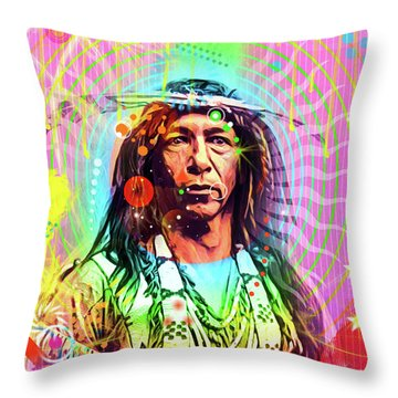 Feather Chief Throw Pillow by Gary Grayson