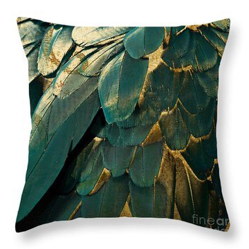 Feather Glitter Teal And Gold Throw Pillow