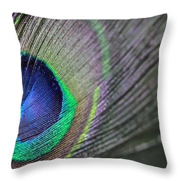 Feather In Green Throw Pillow