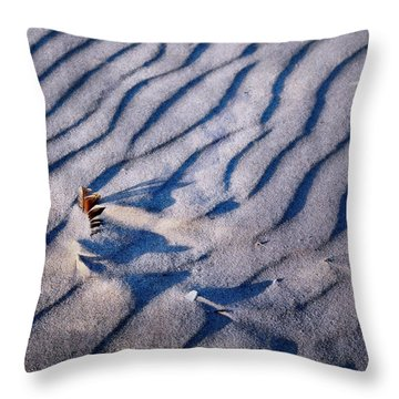 Throw Pillow featuring the photograph Feather In Sand by Michelle Calkins