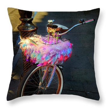 Throw Pillow featuring the photograph Feather Jazz Bicycle by Craig J Satterlee