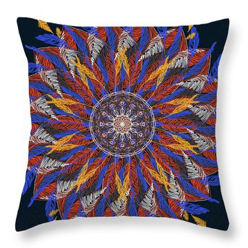 Feather Mandala Iv Throw Pillow