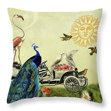 Feathered Friends In Paris, France Throw Pillow by Peggy Collins