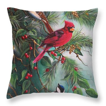 Throw Pillow featuring the painting Feathered Friends  by Sharon Duguay