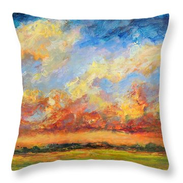 Throw Pillow featuring the painting Feathered Sky by Mary Schiros