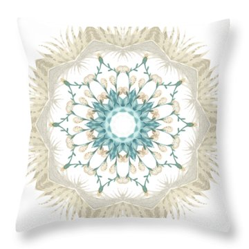 Feathers And Catkins Kaleidoscope Design Throw Pillow