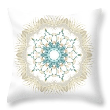 Throw Pillow featuring the digital art Feathers And Catkins Kaleidoscope Design by Mary Machare