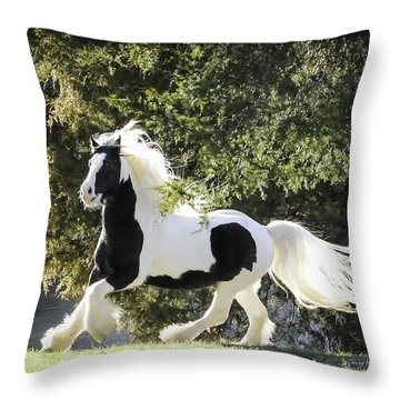 Feathers And Mane Flying Throw Pillow