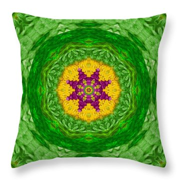 Feathers In The Sunshine Mandala Throw Pillow