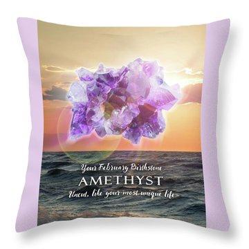 February Birthstone Amethyst Throw Pillow