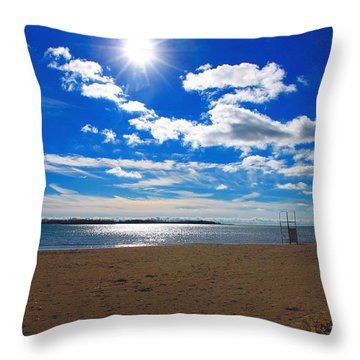 Throw Pillow featuring the photograph February Blue by Valentino Visentini