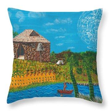 February  Mayan Farm Throw Pillow