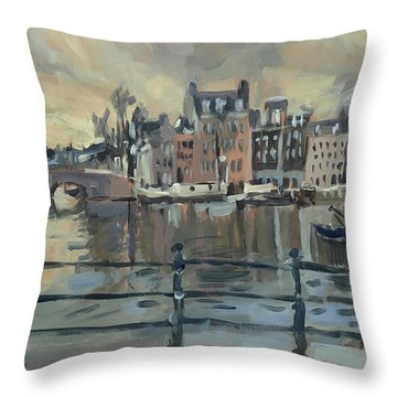 February Morning Along The Amstel Throw Pillow