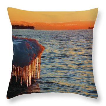 Feburary Sunset Cape Vincent Throw Pillow