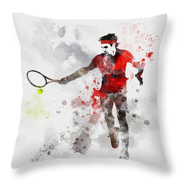 Federer Throw Pillow by Rebecca Jenkins