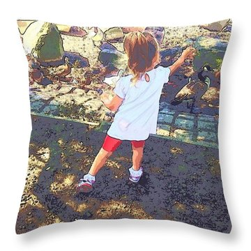 Feed The Ducks Throw Pillow