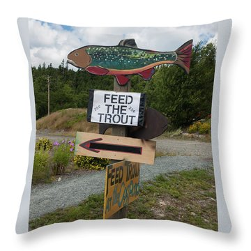 Feed The Trout Throw Pillow by Suzanne Gaff