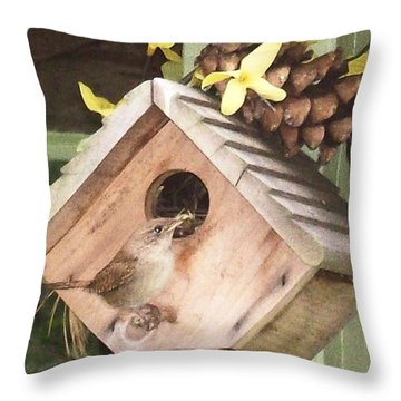 Feeding Birds Throw Pillow