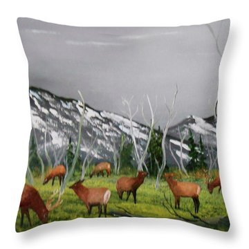 Feeding Elk Throw Pillow by Al Johannessen