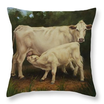 Feeding In The Forest Throw Pillow
