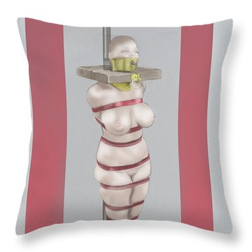 Throw Pillow featuring the mixed media Feeding Posture by TortureLord Art