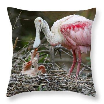 Feeding The Babies Throw Pillow