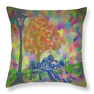 Feeding The Birds Throw Pillow