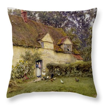 Feeding The Fowls Throw Pillow by Helen Allingham