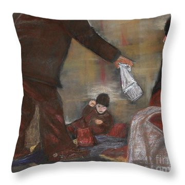 Feeding The Hungry Throw Pillow