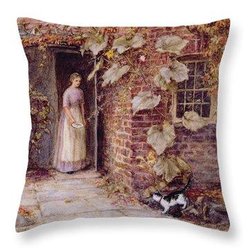 Feeding The Kitten Throw Pillow by Helen Allingham