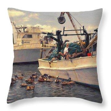 Feeding The Pelicans Throw Pillow
