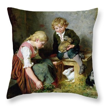 Feeding The Rabbits Throw Pillow by Felix Schlesinger